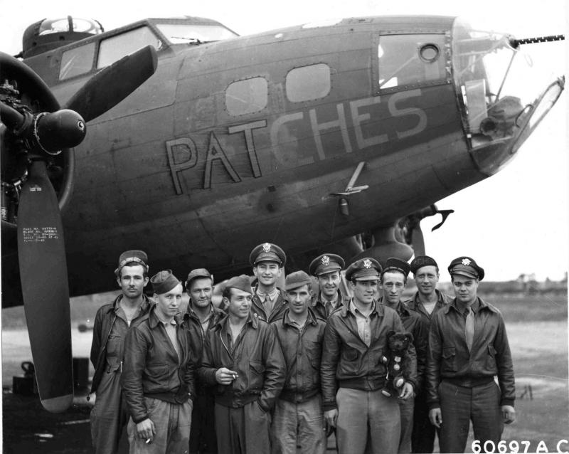 305th Bomb Group crew in front of B-17 #41-24564 'Patches', 5 June 1943.