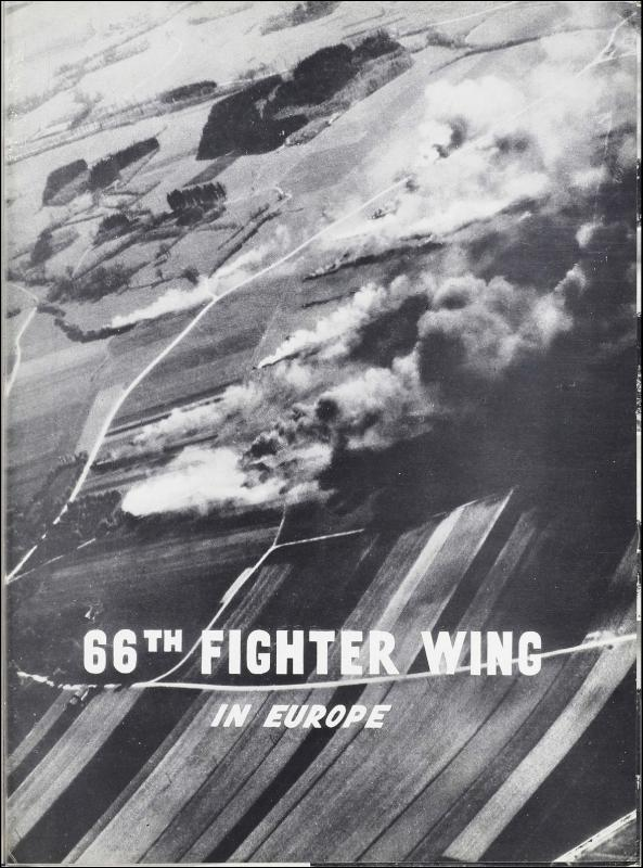 Page 02 of the 66th Fighter Wing unit history. Many of the 8th Air Force Groups produced an unofficial unit history in the months after the war ended in Europe but before they were redeployed out of the ETO (European Theater of Operations).   Resembling a college yearbook, unit histories were an unofficial – and often tongue-in-cheek – record of the unit's time based in the UK. They include photo montages showing different aspects of base life. Often the servicemen in the photos are unnamed. The American Air Museum hopes that by adding unit histories to the website as individual pages, the men in the photos will be identified and associated to their person entries. Many included lists of personnel and a mailing address, providing a means for servicemen to keep in contact with each other after the war. These lists are now incredibly useful records of where US airmen in England in 1945 called their home