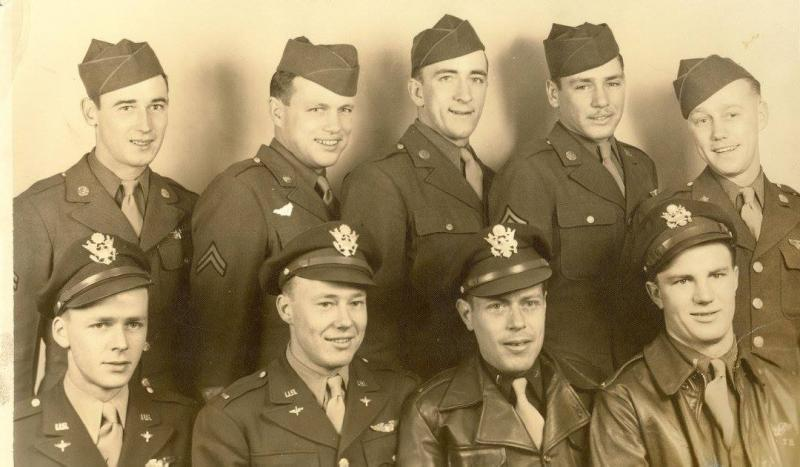 Ford's Crew: Sgt. Clarence Bailey, Sgt. Francis F. Burns, 2nd Lt. Charles E. Davis, Sgt. Charles B. Dick, Sgt. William L. Englett, 2nd Lt. Wilburn H. Ford, Sgt. George Hansen Jr., Sgt. W. F. Karr, 2nd Lt. Terence B. McArron.  They completed 10 missions from 4/4/1945 to 4/20/1945, five on Budd's Dudds, #44-6313.