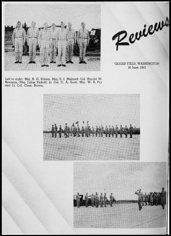 Page 60 of the 401st Bomb Group unit history. Many of the 8th Air Force Groups produced an unofficial unit history in the months after the war ended in Europe but before they were redeployed out of the ETO (European Theater of Operations).   Resembling a college yearbook, unit histories were an unofficial – and often tongue-in-cheek – record of the unit's time based in the UK. They include photo montages showing different aspects of base life. Often the servicemen in the photos are unnamed. The American Air Museum hopes that by adding unit histories to the website as individual pages, the men in the photos will be identified and associated to their person entries. Many included lists of personnel and a mailing address, providing a means for servicemen to keep in contact with each other after the war. These lists are now incredibly useful records of where US airmen in England in 1945 called their home.