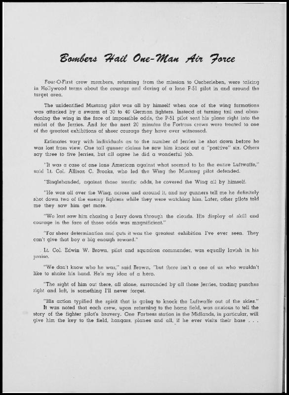 Page 130 of the 401st Bomb Group unit history. Many of the 8th Air Force Groups produced an unofficial unit history in the months after the war ended in Europe but before they were redeployed out of the ETO (European Theater of Operations).   Resembling a college yearbook, unit histories were an unofficial – and often tongue-in-cheek – record of the unit's time based in the UK. They include photo montages showing different aspects of base life. Often the servicemen in the photos are unnamed. The American Air Museum hopes that by adding unit histories to the website as individual pages, the men in the photos will be identified and associated to their person entries. Many included lists of personnel and a mailing address, providing a means for servicemen to keep in contact with each other after the war. These lists are now incredibly useful records of where US airmen in England in 1945 called their home.