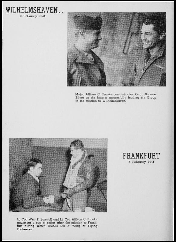 Page 142 of the 401st Bomb Group unit history. Many of the 8th Air Force Groups produced an unofficial unit history in the months after the war ended in Europe but before they were redeployed out of the ETO (European Theater of Operations).   Resembling a college yearbook, unit histories were an unofficial – and often tongue-in-cheek – record of the unit's time based in the UK. They include photo montages showing different aspects of base life. Often the servicemen in the photos are unnamed. The American Air Museum hopes that by adding unit histories to the website as individual pages, the men in the photos will be identified and associated to their person entries. Many included lists of personnel and a mailing address, providing a means for servicemen to keep in contact with each other after the war. These lists are now incredibly useful records of where US airmen in England in 1945 called their home.