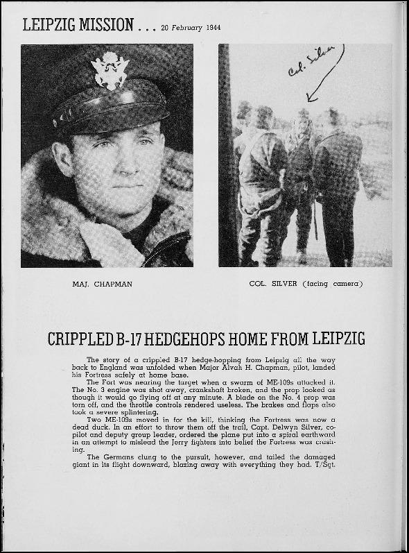 Page 150 of the 401st Bomb Group unit history. Many of the 8th Air Force Groups produced an unofficial unit history in the months after the war ended in Europe but before they were redeployed out of the ETO (European Theater of Operations).   Resembling a college yearbook, unit histories were an unofficial – and often tongue-in-cheek – record of the unit's time based in the UK. They include photo montages showing different aspects of base life. Often the servicemen in the photos are unnamed. The American Air Museum hopes that by adding unit histories to the website as individual pages, the men in the photos will be identified and associated to their person entries. Many included lists of personnel and a mailing address, providing a means for servicemen to keep in contact with each other after the war. These lists are now incredibly useful records of where US airmen in England in 1945 called their home.