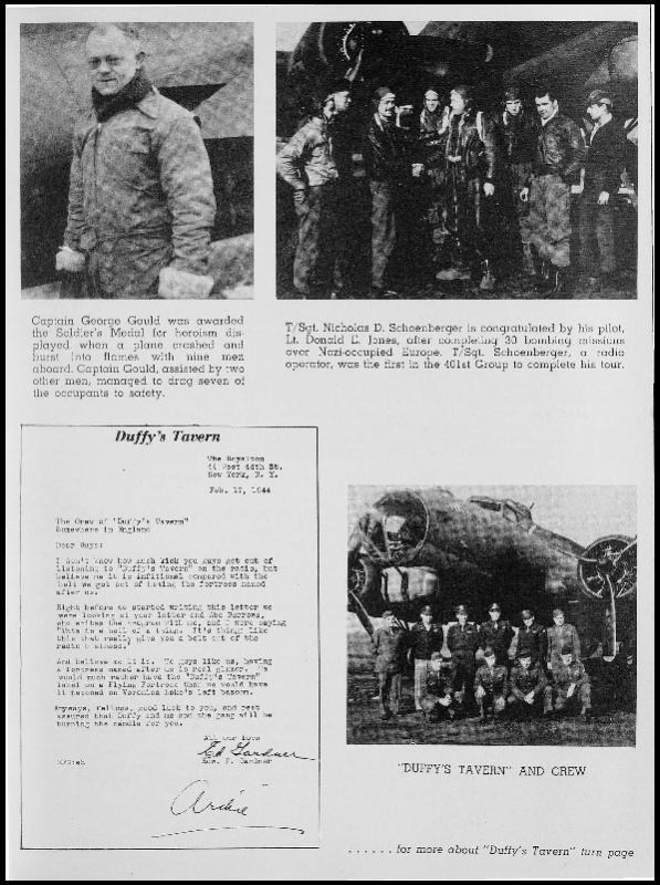 Page 167 of the 401st Bomb Group unit history. Many of the 8th Air Force Groups produced an unofficial unit history in the months after the war ended in Europe but before they were redeployed out of the ETO (European Theater of Operations).   Resembling a college yearbook, unit histories were an unofficial – and often tongue-in-cheek – record of the unit's time based in the UK. They include photo montages showing different aspects of base life. Often the servicemen in the photos are unnamed. The American Air Museum hopes that by adding unit histories to the website as individual pages, the men in the photos will be identified and associated to their person entries. Many included lists of personnel and a mailing address, providing a means for servicemen to keep in contact with each other after the war. These lists are now incredibly useful records of where US airmen in England in 1945 called their home.