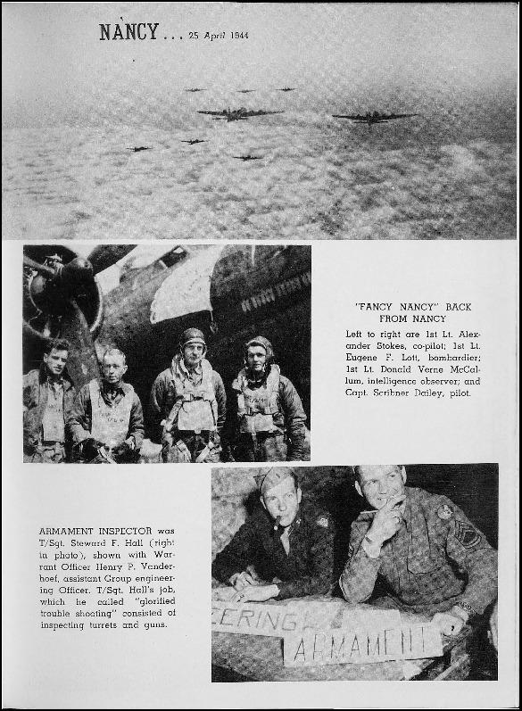 Page 177 of the 401st Bomb Group unit history. Many of the 8th Air Force Groups produced an unofficial unit history in the months after the war ended in Europe but before they were redeployed out of the ETO (European Theater of Operations).   Resembling a college yearbook, unit histories were an unofficial – and often tongue-in-cheek – record of the unit's time based in the UK. They include photo montages showing different aspects of base life. Often the servicemen in the photos are unnamed. The American Air Museum hopes that by adding unit histories to the website as individual pages, the men in the photos will be identified and associated to their person entries. Many included lists of personnel and a mailing address, providing a means for servicemen to keep in contact with each other after the war. These lists are now incredibly useful records of where US airmen in England in 1945 called their home.
