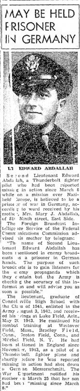 Newspaper clipping reporting Edward Abdallah as missing