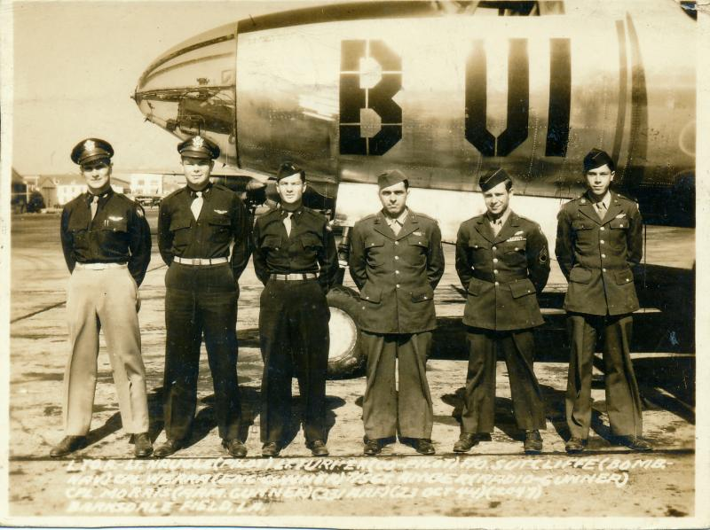 Crew No. 37 at Barksdale Field, LA on 23 October 1944 Left to right they are: Q P 2/Lt 1082 Richard C Naugle O720331 Q CP 2/Lt 1051 Ralph F Turner Jr O833444 Q B F/O 1035 George W Sutcliffe T-131630  EG Cpl 748 Joseph O Werra 36822556  ROG Cpl 757 John B Amber 15072426  AG Cpl 612 Eugene T Morris 36763095  Assigned to 375th Bomb Squadron of the 391st Bomb Group in 1945.