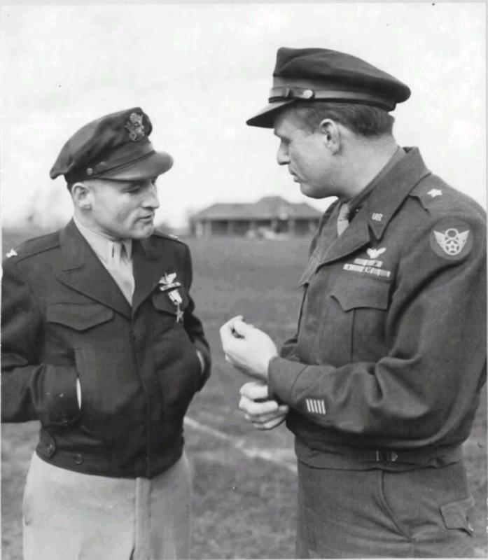 L-R: Colonel Leon W Gray, Gen Elliott Roosevelt. Col Gray is sporting a freshly pinned silver star to go with his DFC (OLC) and AM(14OLC).