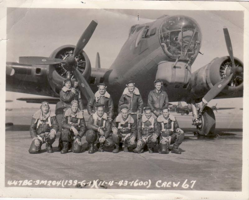 """711th Bombardment Squadron (H), 447th Bombardment Group (H)   B-17-G #42-39882, """"My Gal"""" Crew Top Left to Right: August E. Herlth (holding a dog!), Eugene G. D''Albero, Larry S. Hatfield, Martin J. Gruber Bottom Left to Right: William M. Lindgren, Bailey E. Swadley, Raymond L. Hayes, William H. Stoyer, Rocco J. LoCarro, Louis L. Jenkins"""