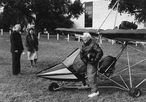 Thaddeus Tedrowe in later years at the controls of his ultra-light aircraft.