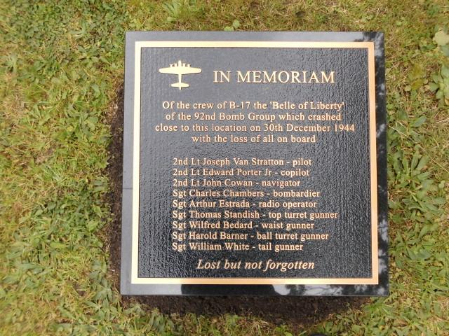 Memorial at the crash site of B-17 42-97479 'Belle of Liberty', dedicated to the crew who were killed. It was unveiled in a service on Sunday 10 September 2017.