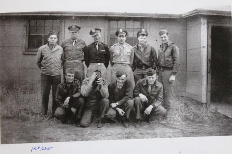 The crew of B-17 42-31553 'Myer's Flaw'. Edward Haushalter is standing, third from the right.