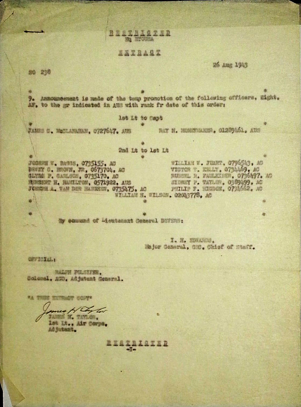 HQ ETOUSA Special Orders #238 EXTRACT, 26 August 1943
