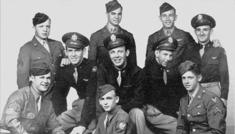 George E. West Crew 401st BG - 612th BS  Back Row L to R:  Hugh D. Russel (LWG), Alfred J. Morini (RWG), Michael Lefkin (TG), Thomas B. Montgomery (B)  Middle Row L to R:  Douglas H. McKinnon (CP), George E. West (P), Lloyd A. Nutter (N)  Front Row:  ? Stewart (BTG), Robert L. Andrus (R/O), Francis L. Russell (FE)  This crew was shot down on their 27th mission, 28 May 1944.  West, H. Russel, and Lefkin were KIA, the remainder were captured.  Stewart was not part of the crew when they were shot down.
