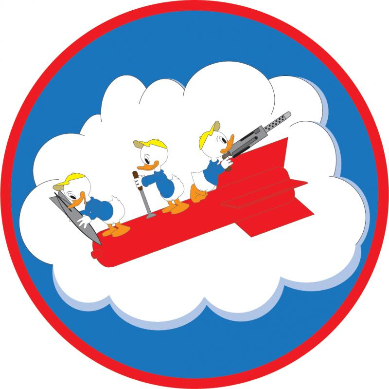 340th Bomb Squadron- a modern recreation of the squadron patch.  The patch shows the Disney characters, Huey, Dewey and Louie,  (Donald Duck's nephews) commandeering a bomb in flight at an angle. Huey is perched at the front, ready to drop a bomb of his own; Dewey is in the middle with his hands on a control stick; Dewey attends to the rear with an anti-aircraft gun. The bomb and crew are shown against a cartoon cloud; the cloud is in the foreground of a blue sky.  If you look VERY CLOSELY at the insignia on the jacket of Glen V Leland (5th from left, the picture of the bomber crew of the 97th Bomb Group) you can make out the faint outlines of this same patch.