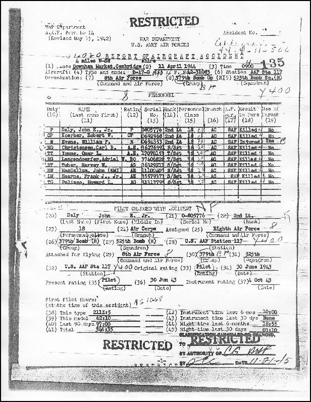The Official Report of Aircraft Accident (A.A.F. Form No. 14) for B-17G 42-31083, Tenny Belle on 11 April 1944.  Lists all crew members, reports from ground personnel, the one survivor and official findings.