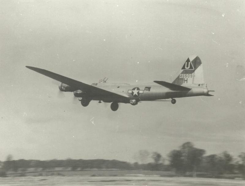 B-17G # 44-6509, taking part in a mission as part of 457BG/748BS from RAF Glatton.