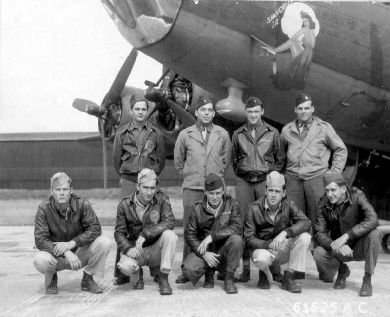 Lt Jockerst and crew of the 360th Bomb Squadron, 303rd Bomb Group based in England, pose in front of Boeing B-17