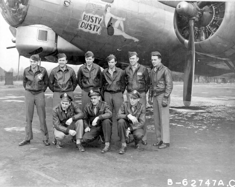 Lt. Harold B Reichert and crew of the 322nd Bomb Squadron, 91st Bomb Group, 8th Air Force, in front of B-17