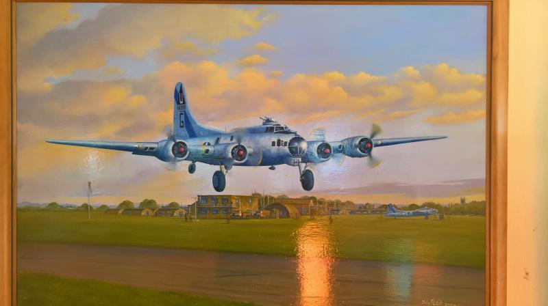 Painting commemorating the service of the 457th BG(H), inside the terminal building at Peterborough Business Airport.