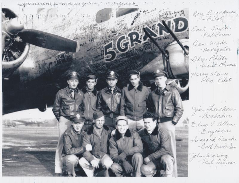 Roy Brockman's crew of the 5-Grand  338th Bomb Squadron, 96th Bomb Group, 8th Air Force at Snetterton Heath in 1944  John Wearing is Front Row  right.
