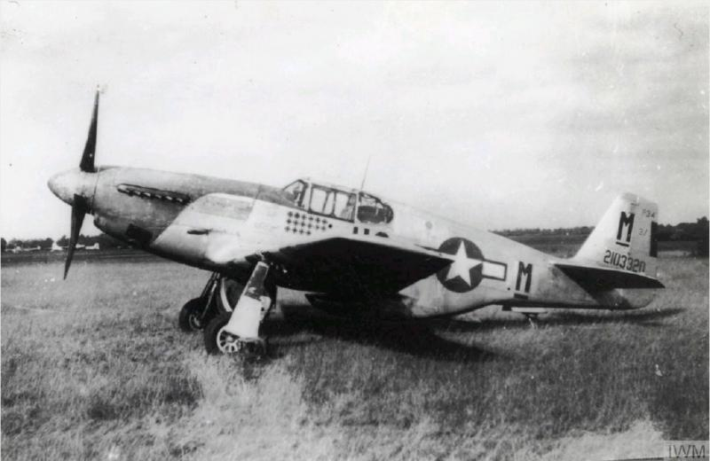 A P-51 Mustang (HO-M_, serial number 42-103320) of the 352nd Fighter Group. Handwritten caption on reverse: 'HO-M, 352 FG, 487 FS, Possibly a/c of 1/Lt GT Moran.'  Roger Freeman Photo FRE 13416