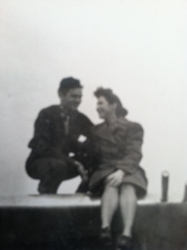 Sam Marshall and his wife (First Lieutenant, Rebecca G Quirin (Marshall) an army nurse,  on the wing of his P-47.