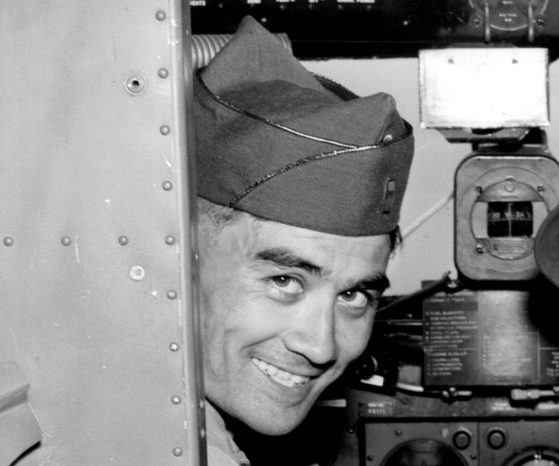 1st Lt Manuel A Head 562BS, 388BG, 8AF seen here in the hot seat of a C-47.
