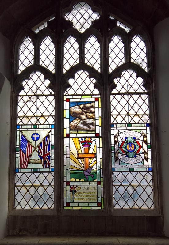 Painted glass window in the Church of St Mary the Virgin, Church Street, Weldon, NN17 3JY. The window was originally in the chapel at the base and was donated to the church when the base closed. The colour is painted on the glass.