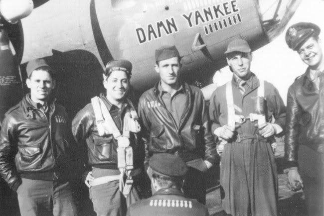 LtR: T/Sgt William Ramsey (POW), S/Sgt Mike Cappelletti (KIA), S/Sgt George Hayes (KIA) Lt Bruce Sundlun (Escaped), Lt Zitnik(only on this 10th mission), Kneeling: Lt Reino Jylkka (POW)