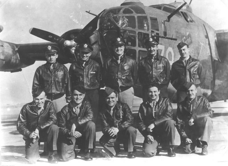 L to R Standing: 2nd Lt James B Muise Navigator (PoW 5th Nov 1944) : 2nd Lt Donald J Fetters Co-Pilot (KIA 5th Nov 1944)  Capt Earl H Johnson Pilot (KIA 5th Nov 1944) : 2nd Lt John D McCombs Bombardier (KIA 5th Nov 1944)  S/Sgt Edward L Chernikh Engineer Kneeling: Sgt John E Pitcher Nose Gunner (PoW 5th Nov 1944) : S/Sgt Frank J Zito Radio Operator (PoW 5th Nov 1944)  Sgt James P Locke Tail Gunner (transferred to 15th Air Force after tenth mission) : Sgt Dick W Skinner Waist Gunner (PoW 5th Nov 1944) : Sgt Alfred L Atkins Armorer Ball Gunner (PoW 5th Nov 1944)  Crew 36 in the 861st Bomb Squadron at McCook AAB April 1944