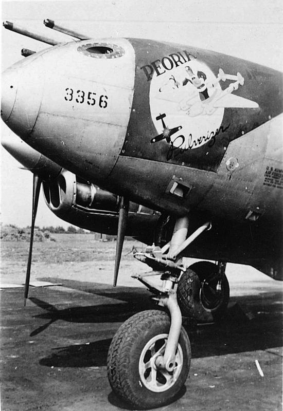 P-38J Lightning serial number 43-28341, coded CG-O of 38th Fighter Squadron, 55th Fighter Group. Initially named