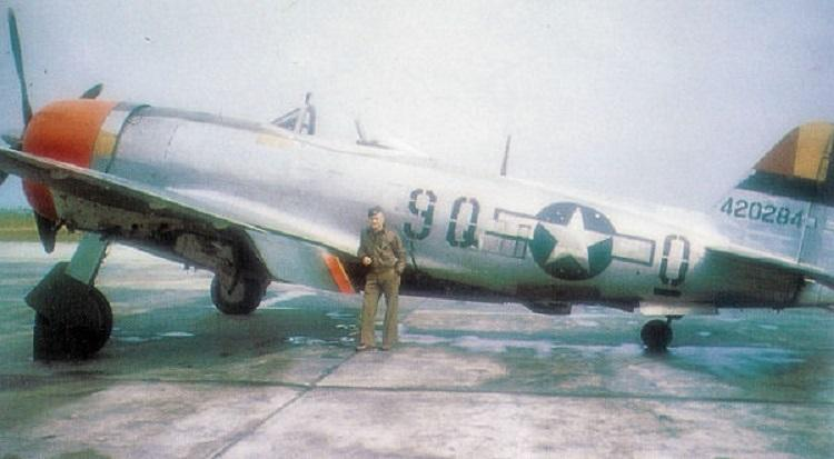 Republic P-47D-28-RE Thunderbolt Serial 44-200284 of the 404th Fighter Squadron, 371st Fighter Group, at Furth/Industriehafen, Germany.