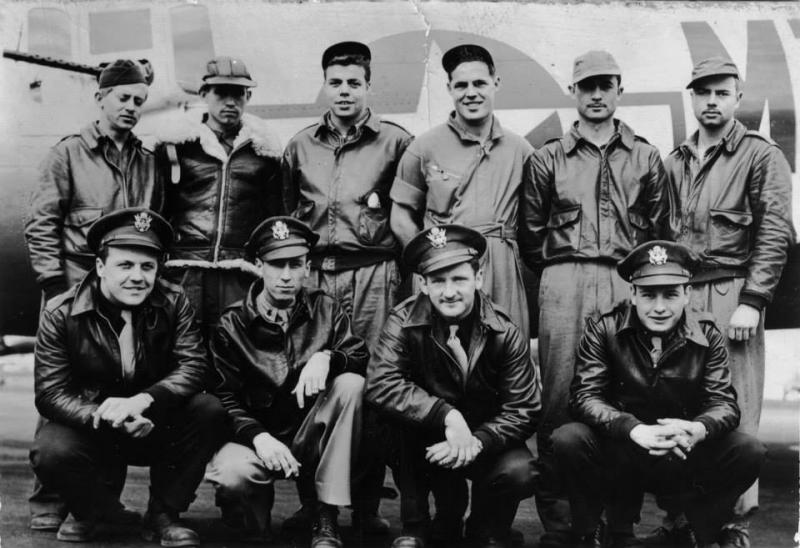 The Crew Of  42-102515 on the day she went down after a collision with 42-97269 Row 1: 1/LT Joseph Borkowski, 2/LT Walter Hester, F/O William Ahearn, 1/LT Theodore Ream  Row 2: T/SGT William Anderson, S/SGT Ralph Bazzell, S/SGT Wallace Young, S/SGT Ernest Grant, S/SGT Ralph Hagenmaier, T/SGT Ross Welch