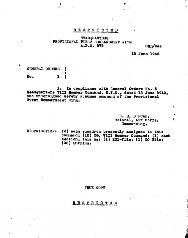 Provisional 1st Bombardment Wing General Orders #1 dated 15 June 1942.