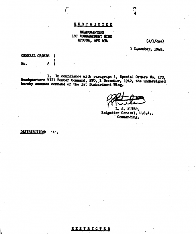1st Bombardment Wing General Orders #6 dated 1 December 1942