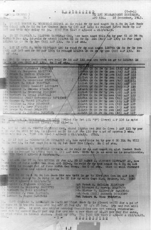 1st Air Division Special Orders #94, page 1 of 3, 18 December 1943
