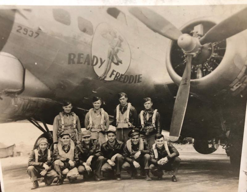 A bomber crew of the 95th Bomb Group and their B-17 Flying Fortress ( serial number 42-102937) nicknamed