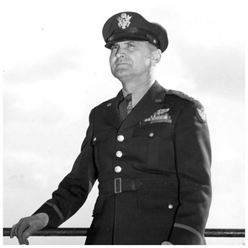 Lieutenant General Ira Clarence Eaker, commander of the United States Army Air Forces in Britain and the Mediterranean.