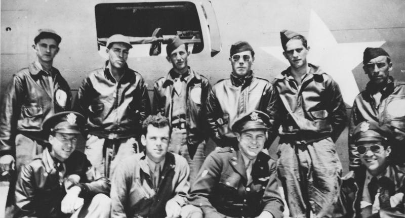 Lieutenant Edward Purdy & his bomber crew of the 94th Bomb Group, soon after arriving in England.  Back Row L to R: John Smith, Charles Sprague, Russell Crisp, Joe Cornwall, Frank Santangelo and Larry Templeton.  Front Row L to R: Edward Jones, Carroll Harris, Ed Purdy and Charles  Lichtenberger.