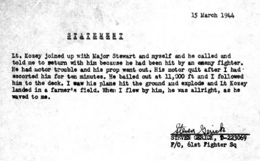 Statement of F/O Steven Gerick (from MACR 3052)