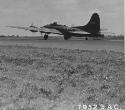 B-17F 42-30155 warming up before take-off, Chelveston, 29 June 1943 (official USAAF photo)
