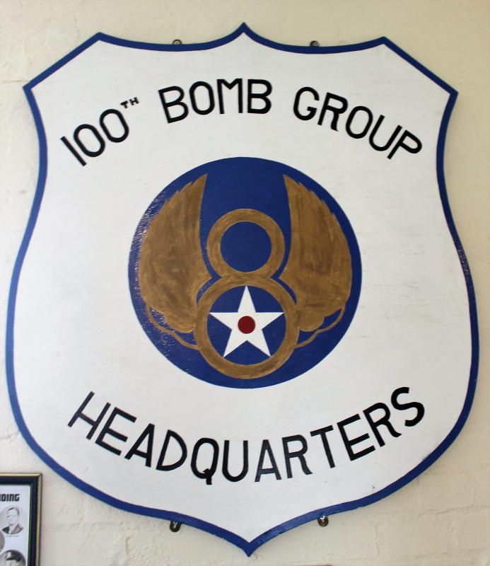 Replica 100th Bomb Group Headquarters sign, at the 100th Bomb Group Memorial Museum.