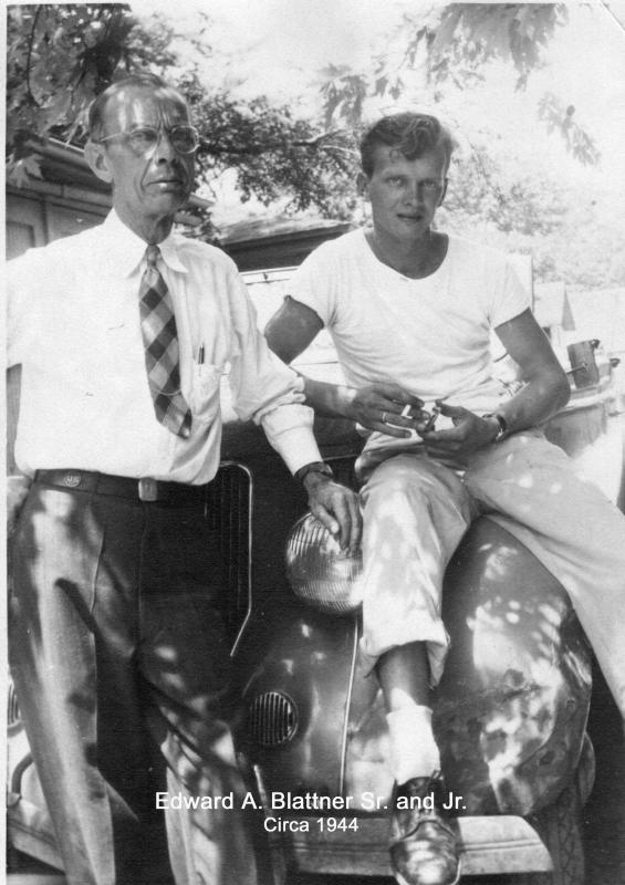 Edward A. Blattner Sr. and Edward A. Blattner Jr., circa summer 1944 on military leave. Photo taken in the alley behind their home at 131 S. Mayfield Ave., Chicago Illinois. Last known photo of the two together.