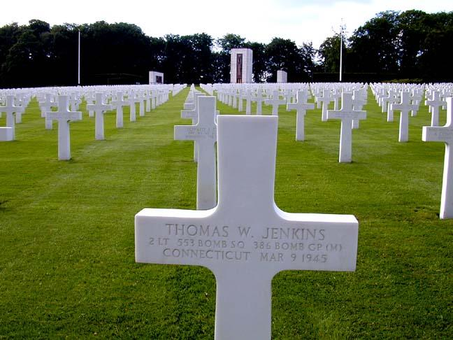 Gravemarker.  US Military Cemetery, Luxembourg.