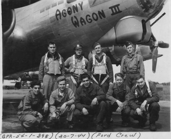 Ford's crew of the 8Th AF's 398th Bomb Group by their B-17,