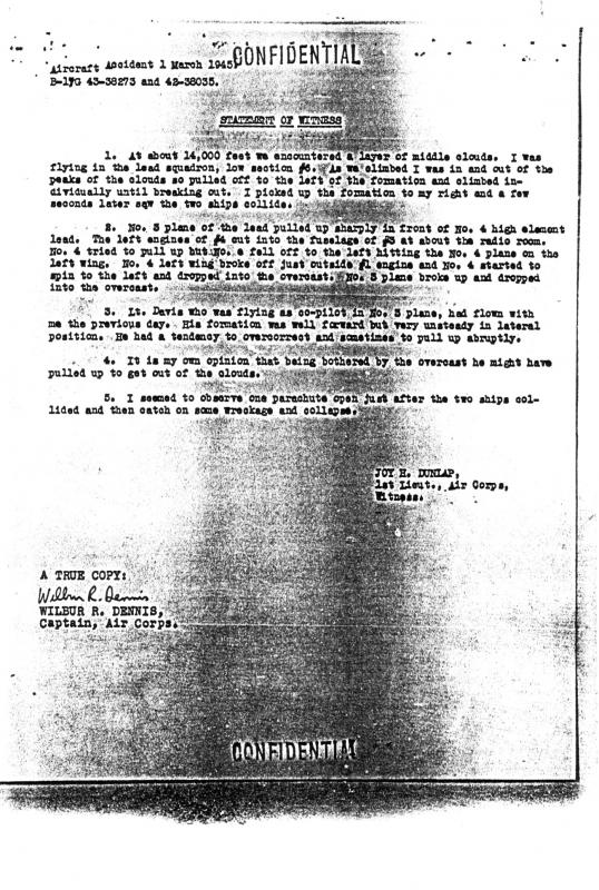 Statement of Witness, Midair Collision March 1, 1945.  43-38273 and 42-38035