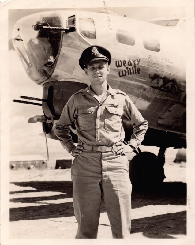 Lt. William A. Hunnewell (Pilot) in front of Weary Willie 42-102855.  Tortorella Air Base, Foggia, Italy, 1944