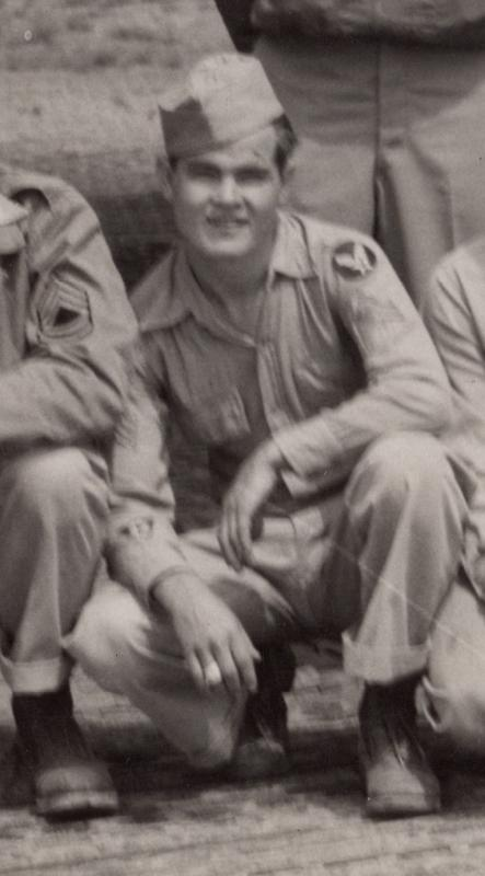 Sgt.Gordon D. Beese (Waist Gunner) in front of Weary Willie 42-102855 - KIA 4/07/44 flying on 42-32014 - Pappy Yokum over Treviso, Italy due to direct hit with flak. 99th Bomb Group mission #173