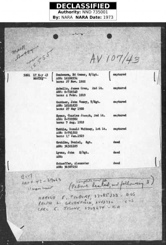 Part of MACR 1555, records those captured and interrogated. 2Lt Charles Joseph Spear Navigator of B-17 42-29663, shows DOB 7th Aug 1918.